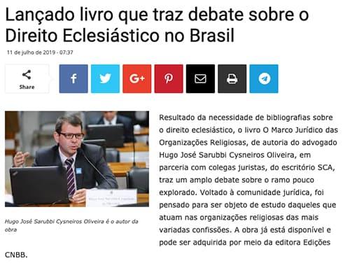 Lançado livro que traz debate sobre o Direito Eclesiástico no Brasil